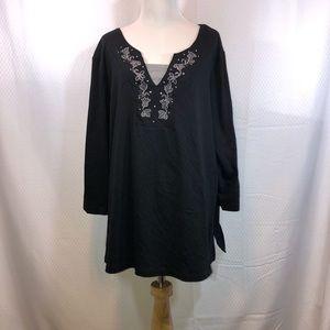 3X Black V neck tunic
